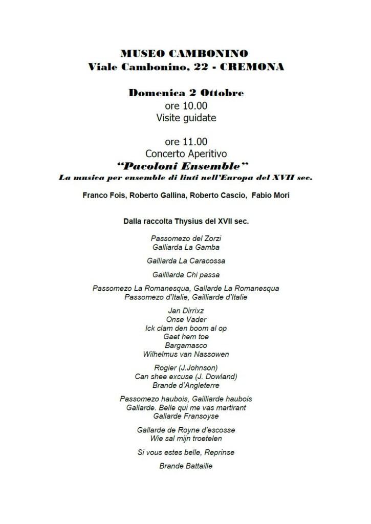 Pacoloni, 2 ottobre