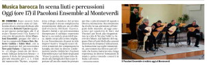 Pacoloni Ensemble Teatro Monteverdi, Cremona, 9 marzo 2019