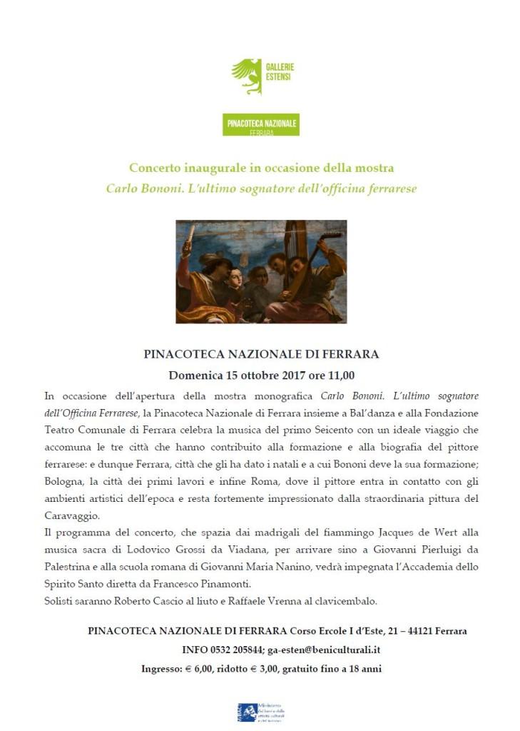 Concerto inaugurale mostra Bononi