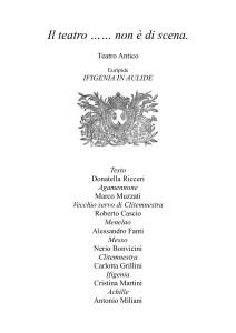 Ifigenia in Aulide. le serate della Biblioteca Audio Musicale della Cappella Musicale di San Giacomo, Bologna.